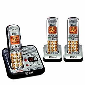 AT&T EL52300 DECT 6.0 Cordless Phone, Silver/Black,3 Handsets