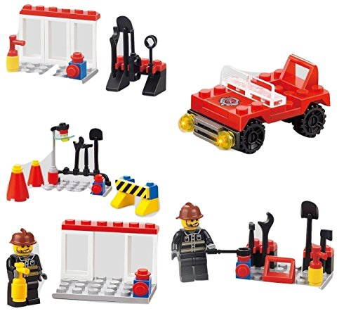 Fire Emergency Series 5-In-1 Building Bricks 99pc Toy set Fire Fighter – Road Block – Fire Equipment – Mini Fire Car – Brave Fire Fighters Compatible to Lego Parts