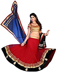 Indian Styles red Blue Net Lehenga