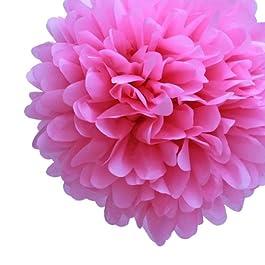 Mi magdalena Mini vestido de 12,7 cm color rosa papel Pom Poms, juego de 8 - rosa flores de papel como rosa decoraciones de fiesta