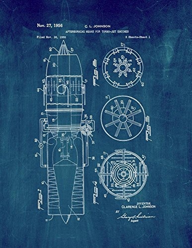 afterburning-means-for-turbo-jet-engines-patent-print-art-poster-midnight-blue-11-x-14