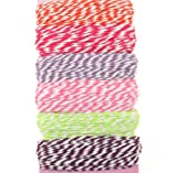 60M Bakers Twine Selection Twisted Cord Orange Red Lilac Pink Lime Brown Decorative Ribbon For Gift Wrapping Card Making Weddings Crafts and Scrapbooking