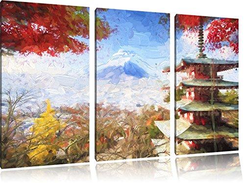 tempio-giapponese-in-autunno-effetto-pennello-3-pezzi-picture-tela-120x80-in-su-tela-xxl-enormi-imma