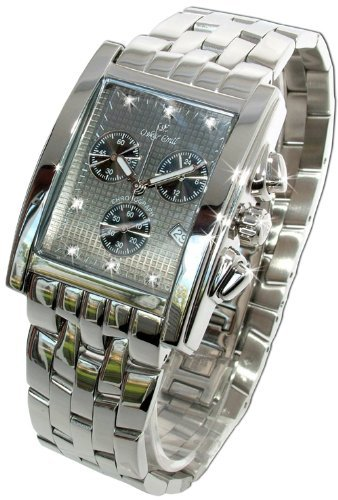Oskar Emil Gents Rodez Steel 7 Diamond Chronograph Watch with Grey Dial