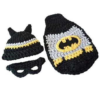 Crochet Newborn Baby Batman Superhero Hat Mask & Cape ...