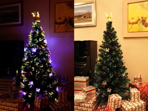 6 Ft Pre-Lit Multi Color Led Fiber Optic With Angel Topper Artificial Green Christmas Tree
