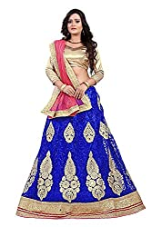 Orange Fab Blue Embroidered Net Lehenga Choli