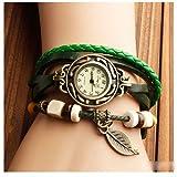 本革 ベルト クォーツ腕時計 レザーブレスレットタイプ ウォッチ リーフチャーム付 D00060Z (グリーン)
