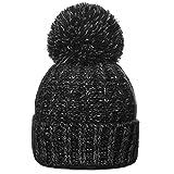 CASPAR Unisex klassische Winter Mütze / Bommelmütze / Strickmütze mit großem Bommel - viele Farben - MU087, Farbe:schwarz;Größe:One Size