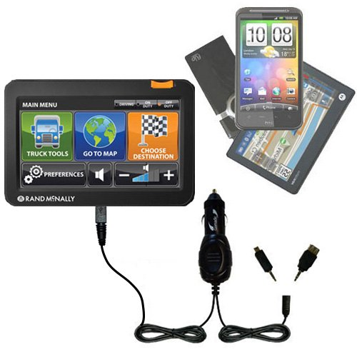 Double Port Micro Gomadic Car / Auto Dc Charger Suitable For The Rand Mcnally Intelliroute Tnd 510 710 720 - Charges Up To 2 Devices Simultaneously With Gomadic Tipexchange Technology