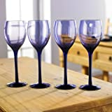 Purple Wine Glasses Set of 4 Contempory Wine Glass Set Elegant Glassware for Red Or White Wine