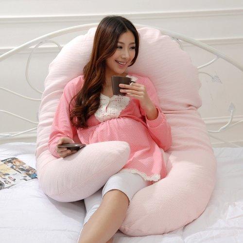 Leyun Sandwich Mesh 360 Degrees Pregnant Women Pillow Pink front-838085