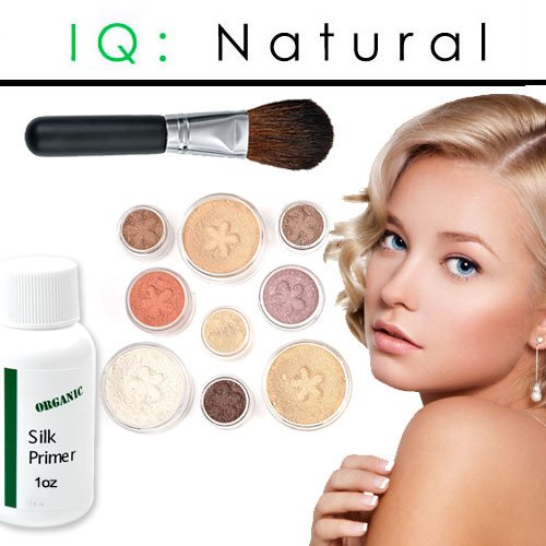 IQ Natural Large Bare Pure Minerals Makeup Starter Set with Brush Fair Shade Under 30.00!