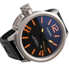 buy 55Mm Fanmis Sandblast Case Orange Big Face Water Resistant Automatic Self-Wind Black Leather Mens Watch