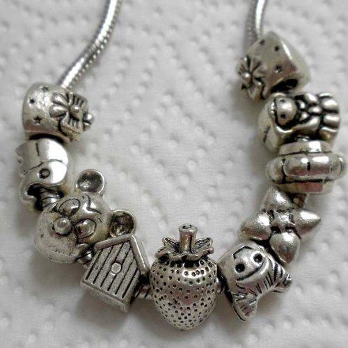 10pcs MIX Antique Silver Large Hole Beads Fit Pandora Bracelet ~ Jewelry Making ~