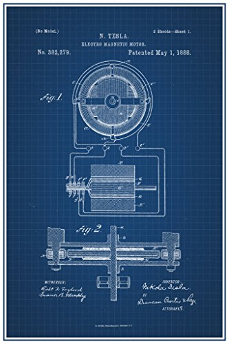 Tesla Electro Magnetic Motor 1888 Official Patent Blueprint Poster 12x18 (Motor Poster compare prices)