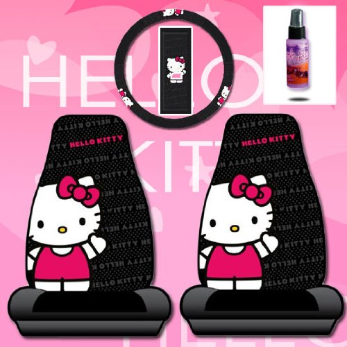 New Design 4 Pieces Hello Kitty Car Seat Cover with Steering Wheel Cover and Purple Slice Set