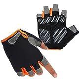 HuwaiH Cycling Gloves Men's/Women's Mountain Bike Gloves Half Finger Biking Gloves | Anti-slip Shock-absorbing Gel Pad Breathable Cycle Gloves (Black Orange, Small)
