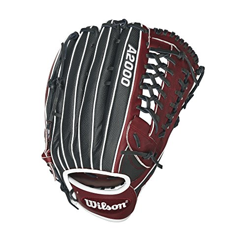 Wilson A2000 Dual Post Slow-Pitch Softball Glove, Brick Red/Black, Left Hand Thrower, 13.5