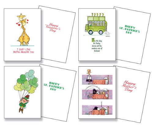 Seasonal Greeting Card Assortment - Valentines, St Patrick's, Easter, Mother & Father Day, 4th of July, Halloween, Thanksgiving, Christmas