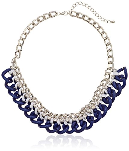 """Colored Curb Link Chain Ribbon Wrap And Stones Shiny Silver And Navy Blue Necklace, 17"""" + 3"""" Extender"""