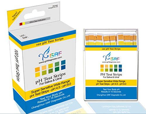 GRF Ph Test Strips, 100ct Per Pack Accurate Results in 15 Seconds with Free Alkaline Food Chart Inside