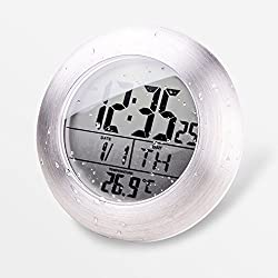 TKMALL Waterproof Electronic Kitchen and Bathroom Wall Clock wih Temperature Sensor / Suction Cup