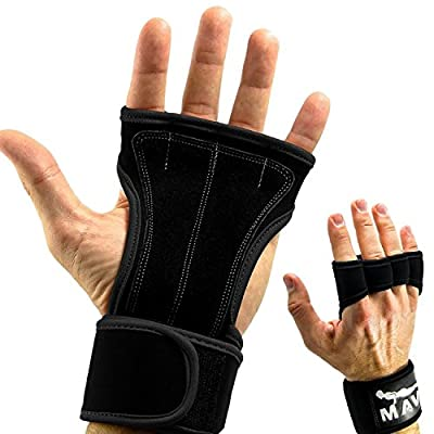 Leather Padding Cross Training Gloves with Wrist Support for WODs & Gym Workouts