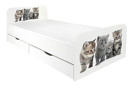 Letto per bambini in legno con cassetto e materasso Dimensioni:200 x 90 motivo Famiglia di gatti