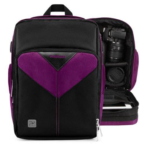 Vangoddy Sparta - Purple Black Compact Backpack Dslr Camera & Tablet Case Bag For Nikon D5300, D5200, D5100, D90, D3300, D3200, D3100