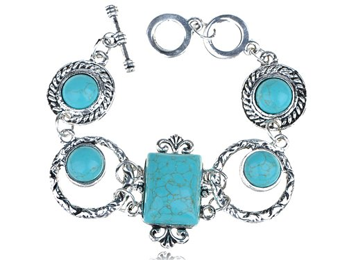 Ethnic Tribal Inspired Faux Turquoise Rectangular