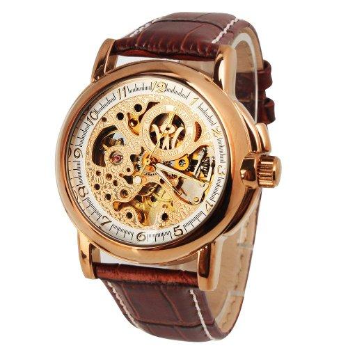 Yajing Mens Mechanical Watch Skeleton Arabic Numerals Gloden Dial Hand Wind Analog Wristwatch Brown Band