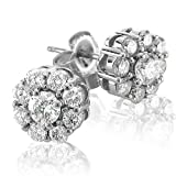 Certified 14k White Gold Cluster Diamond Earrings Studs (GH, SI3-I1, 1.12 carat)