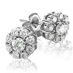 Click to buy Certified 14K White Gold Cluster Diamond Earring Studs from Amazon!