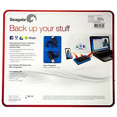 Seagate Backup Slim 1TB USB 3.0 Bundle Slim Portable Drive with Case - Black Drive - Blue Case