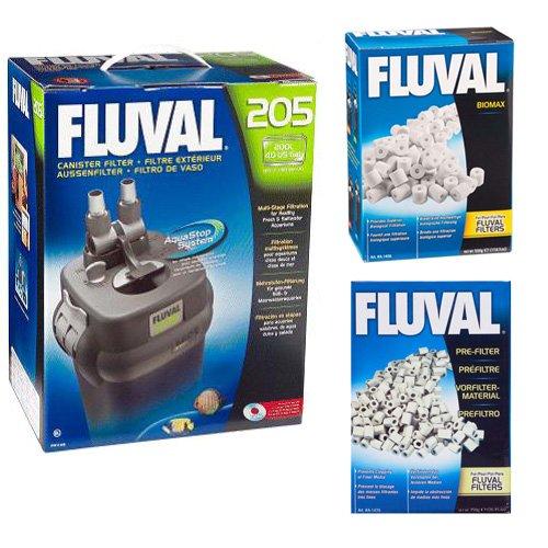 FLUVAL A206 205 CANISTER FILTER W/ BIOMAX 500grams & PRE-FILTER MEDIA 750 GRAM