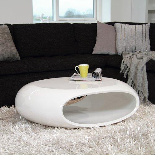 Design Couchtisch SPACE, weiß, Hochglanz, 100x70cm, oval