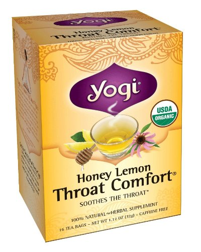 Yogi Honey Lemon Throat Comfort, Herbal Tea Supplement, 16-Count Tea Bags (Pack of 6)