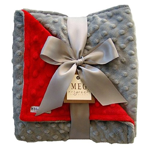 MEG Original Minky Dot Baby Baby Blanket Red/Gray