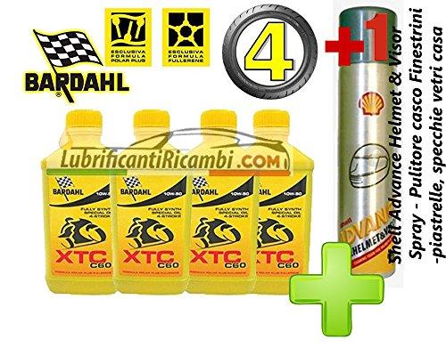 4-LT-OLIO-motore-moto-4t-BARDAHL-BARDHAL-XTC-C60-10W50-100-Sintetico-Shell-Advance-Helmet-Visor-Spray-Pulitore-casco-Finestrini-auto-piastrelle-specchi-e-vetri-casa