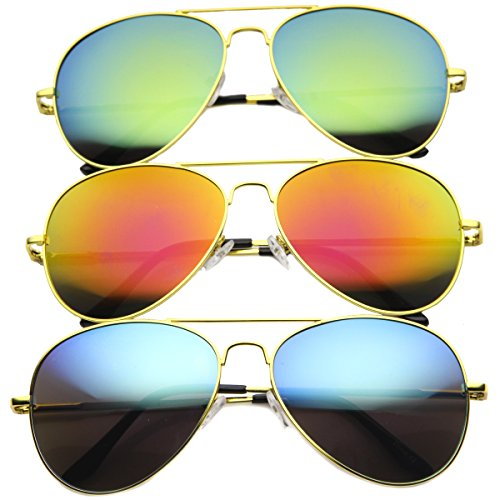 Premium Full Mirrored Aviator Sunglasses w/ Flash Mirror Lens