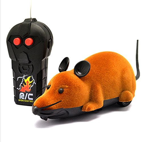 FocuSun Electric Remote Control Mouse Remote Control Animal Toys Pet Cat Toys Mouse Black Brown Grey (Brown)