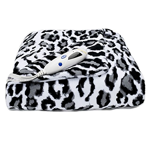 Heated Electric Plush Throw Blanket- Leopard Pattern