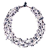 "HinsonGayle ""Zoe"" 4-Strand Handwoven Howlite and Black Freshwater Cultured Pearl Necklace"