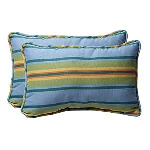 Pillow Perfect Decorative Blue/Green Stripe Rectangle Toss Pillows, 2-Pack
