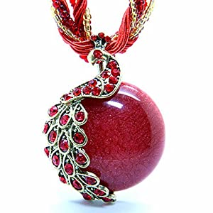 Image® Europe & Amérique du style avec le collier de l'oeil de paon Retro Bohême phénix chat (Rouge)