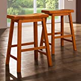 Salvador Saddle Back 24-inch Oak, Bar, Counter, Or Kitchen Stools (Set of 2). These Wooden Stools Are Sturdy..This Barstool Can Be Used As Kitchen Or Patio Furniture. You Will Find Many Uses For These Oak Counter Stools In Your Home.