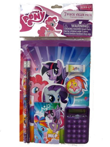 My Little Pony Stationery Calculator, Pencil Sharpener, Eraser... 7 Pieces Set, age 4+ only