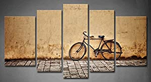 5 panel wall art old rusty vintage bicycle for Bicycle painting near me
