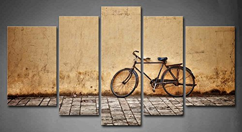 5 Panel Wall Art Old Rusty Vintage Bicycle Near The Wall Painting Pictures Print On Canvas Architecture The Picture For Home Modern Decoration Piece (Stretched By Wooden Frame,Ready To Hang)
